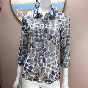 David Cline Blouse 3/4 Sleeve Pull Over Print